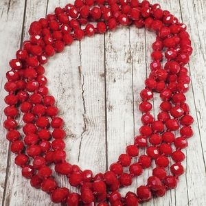 Jewelry - Blood red glass bead 60 30 inch necklace